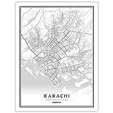 HONG Drucke Leinwand, Karachi Pakistan Stadtplan Gemälde
