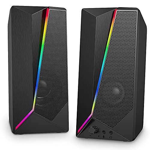 Computer Speakers,VOTNTUT 10W Gaming Computer Speaker with Enhanced Stereo Bass Colorful LED Light and 3.5mm Headphone Jack for PC/Laptops/Desktops/Phone