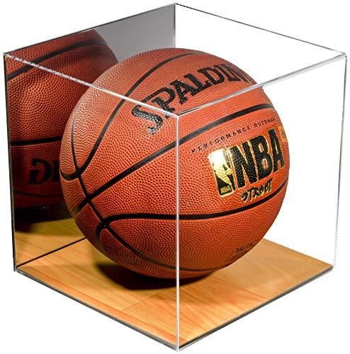 Better Display Cases Basketball-Vitrine in voller Größe aus Acryl mit simuliertem Holzfuß und Spiegel (A008-MWB)