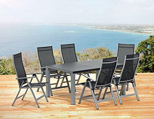 1 mesa de jardín de 160 cm y 6 sillas plegables Sun Garden London muebles de jardín.
