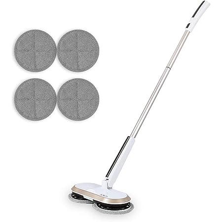 Balai de vadrouille électrique rotatif sans fil Pour nettoyer et polir les sols carrelés durs, le double rotateur rechargeable GOBOT est léger et pratique, équipé de tapis en fibre et de lumières LED