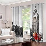 SDSONIU Cortinas Vista de la Torre del Reloj de Londres 170 x 200 cm Poliéster Moderno Cortinas para Salón Dormitorio Infantil Habitación Cocina Hogar Decoración