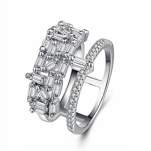 Thumby koper verguld wit goud met zirkonia ring 8K witte plaat met micro diamant set diamanten ring geometrische zirkonia dames met zirkonia, platina, 9