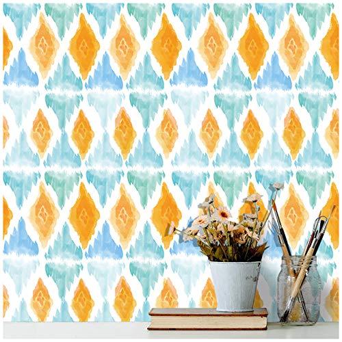 HaokHome 96046-1 Papel pintado para acuarela, color blanco, azul y naranja, extraíble para decoración de sala de estar, dormitorio, 45 x 299 cm