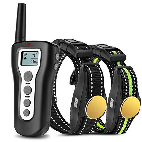 Casfuy Dog Training Collar with Remote - 1000ft Range Electric Shock Collar for 2 Dogs Rechargeable 100% Waterproof with Beep Vibration Harmless Shock for Small Medium Large Dogs