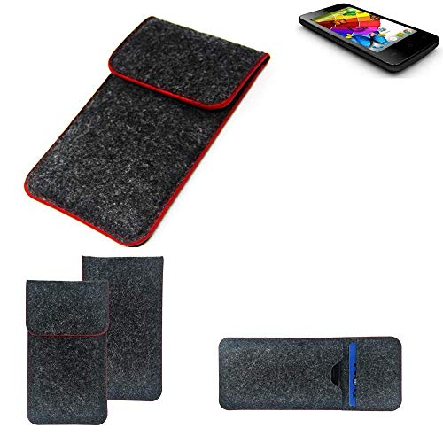 K-S-Trade® Handy Schutz Hülle Für Mobistel Cynus E4 Schutzhülle Handyhülle Filztasche Pouch Tasche Case Sleeve Filzhülle Dunkelgrau Roter Rand