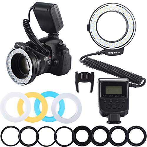 Emiral Macro Led Ring Flash Light with 48leds, LCD Display, Adapter Rings and Flash Diffuser for Nikon Canon and Other DSLR Cameras (8 adapters)