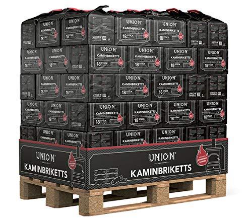 960kg Palette (0,35€/kg) UNION Kaminbriketts Kohle Briketts in der 10kg Papiertüte jeweils 18 Briketts Top Gluthalter Kamin Ofen Brikett Heizbriketts 960kg Palette Kohlebriketts (960)