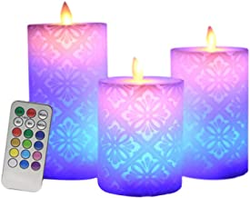 OSALADI 3pcs LED Candle Lights Flat Edge Remote Control Flickering Hollow Pattern Flameless Candles Tea Light Home Decoration