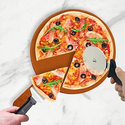 Juego de Servidor de Pizza de Rueda Cortadora de Pizza, con Mango Antideslizante, Kit de Herramientas para Asar Pizza, para Cortar y Servir Pasteles, Tartas, Quiches, Panes Planos