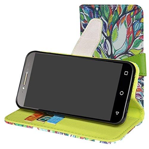 MAMA MOUTH Alcatel Shine Lite Hülle, Brieftasche Schutzhülle Hülle Hülle mit Kartenfächer & Standfunktion für Alcatel Shine lite 5080X-2HALWE7 5080X-2DALWE7 5080X-2GALWE7 Smartphone,Love Tree