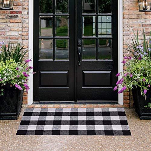 Homcomoda Doormats for Entrance Way Outdoors/Indoor Cotton Plaid Checkered Door Mat Hand Made Braided Floor Mats (23.6' x 51.2', Plaid)