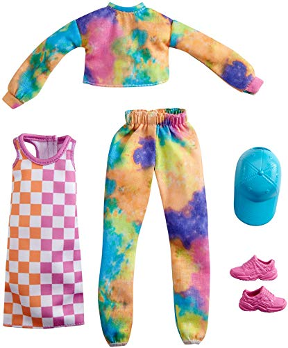 Barbie Fashions 2Pack Clothing Set 2 Outfits Doll Include TieDye Joggers amp Sweatshirt Checked Dress Blue Cap amp Pink Sneakers Gift for Kids 3 to 8 Years Old