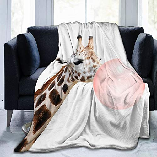 Manta de forro polar Hustor con estampado de jirafa, ultrasuave, para invierno, cálida, para verano, aire acondicionado, manta de franela para cama, sofá, oficina, camping, 152 x 127 cm