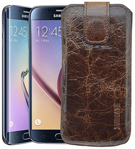 Suncase Original Samsung Galaxy S7 Tasche Leder Etui Handytasche Ledertasche Schutzhülle Hülle Hülle mit Zieh-Lasche