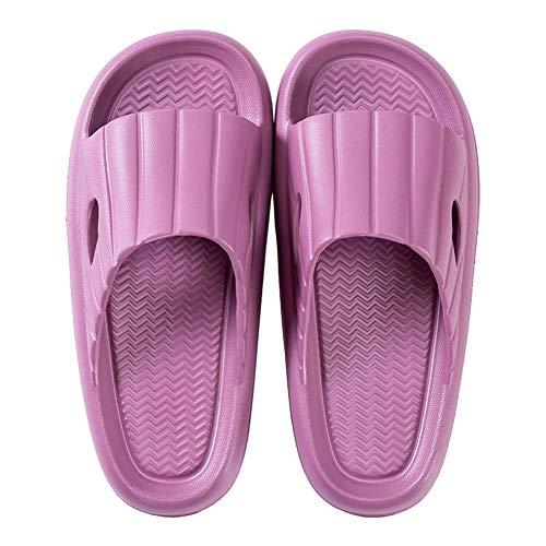Dusch Badeschuhe Damen Badelatschen Damen Sommer Hausschuhe Damen rutschfeste Pantoletten Damen Strand Schwimmbad Sandalen Slides Haus Badeschlappen 38/39 EU(CN 39/40,Lila)