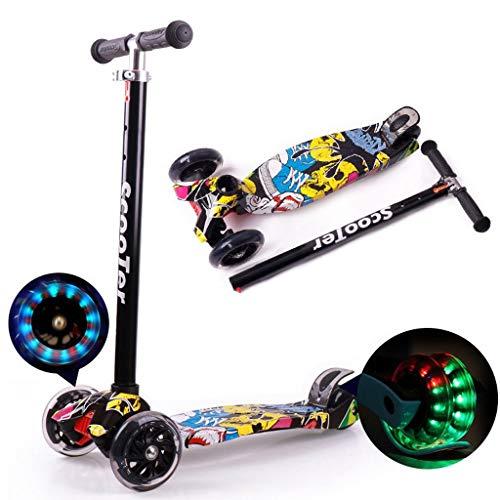 JSZHBC Patada de Estilo Libre Vespa Scooter Plegable for los niños Ultra-Ligero, Altura Ajustable portátil con Smooth Intermitente de la PU de Ruedas, Fast Ride Scooter clásico (Color : Black)
