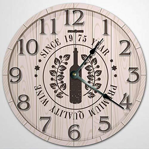 Reloj de pared de madera con marca de vino en barril, reloj de pared de 30,5 cm, funciona con pilas, decoración de pared de granja, decoración del hogar