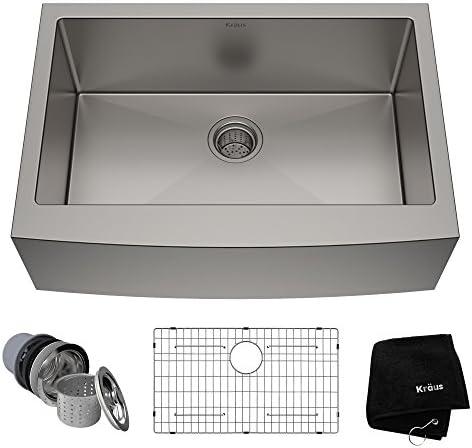 Best Kraus KHF200-30 Standart PRO Kitchen Stainless Steel Sink, 30 Inch Round Apron Single Bowl