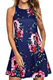 Lamilus Women's Summer Sleeveless Casual Loose Swing T-Shirt Dresses with Pockets (S,V-Navy Floral-8001) (Apparel)