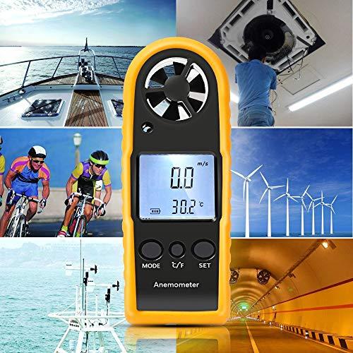Anémomètre Numérique de Poche avec Ecran LCD Jauge de Vitesse du Vent avec Thermomètre Numérique Mètre Compteur de Vélocité d'Air et de Vitesse du Vent Outil de Mesure pour Planche à Voile Surf Cerf-Volant Pêche Randonnée et Autres Activités en Plein Air–Jaune