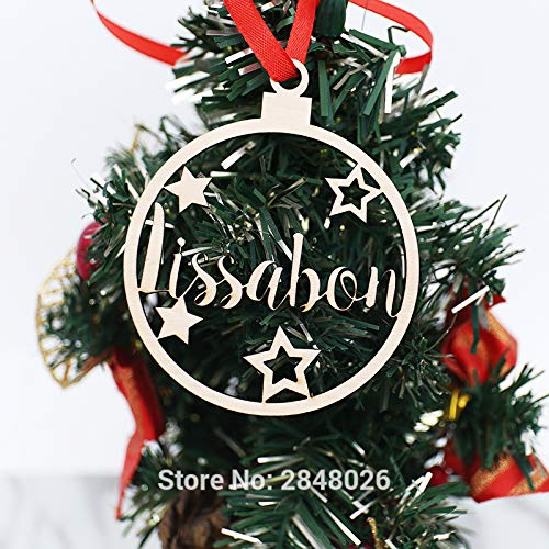 2pcs con nome a dell'ornamento personalizzata Palla dell'albero di Natale -Custom Ornamento Palla Palla di legno Ornamento con nome e anno