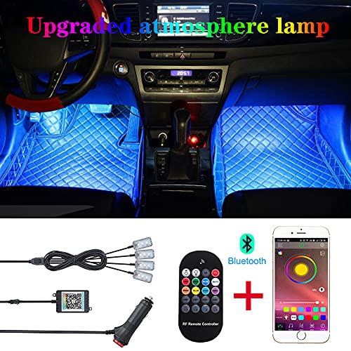 TABEN Car Ambient Light App Control + Control Remoto RGB Atmósfera Lámpara de luz DIY Refit 64 Colores Interior Footwell Lighting Luz Decorativa 1W DC 12V