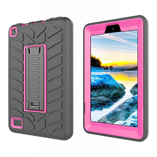 All-New Fire 7 2019 Case,Fire 7 Tablet Case,Dteck Kids Shock Proof Protective Kickstand Cover High Impact Resistant Heavy Duty Armor Defender Case for Amazon Fire 7 9th Generation 2019 Release,Rose