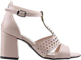 Ayakland 11005-245 Günlük 7 Cm Topuk Bayan Cilt Sandalet Ayakkabı Pudra