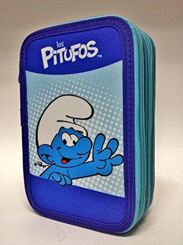 Estuche de 3 cremalleras con diseño de Los Pitufos, azul, para llevar los colores del colegio