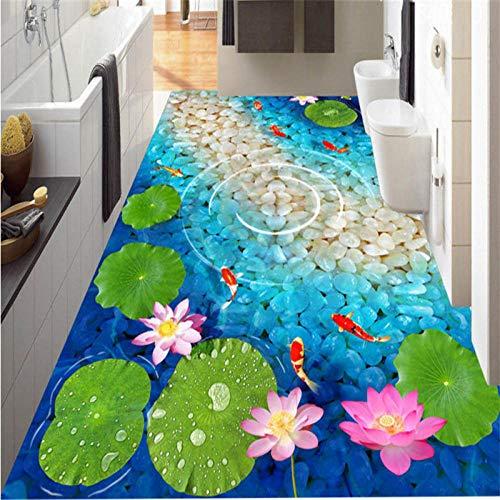 Suelos Vinilicos Papel Pintado Mural De Suelo 3D Personalizado Hd Lotus Fish Pond Pintura De Suelo 3D Personalizada Decorativa Sala De Estar Suelo De Baño-150_X_105Cm