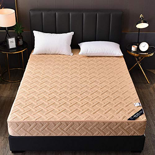 HPPSLT colchón Acolchado, antialérgico antiácaros, Sábana de Cama Pure Color Todo Incluido Hotel-Camel_180 * 200cm