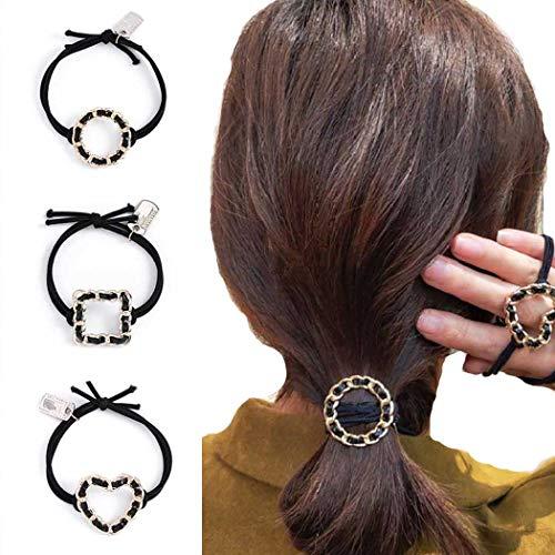 Genglass Corda per capelli a cuore Elastici per capelli neri Legami per capelli rotondi Accessori per capelli per donne e ragazze (Confezione da 3)