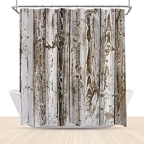 LFEEY Rustikale Holzbrett-Duschvorhänge, Landhaus-Landhaus-Landhaus-Vintage-Stil, Holzplanke, braun, Badezimmer-Gardinen mit Haken, 72 x 72 cm, Stoff, wasserdicht