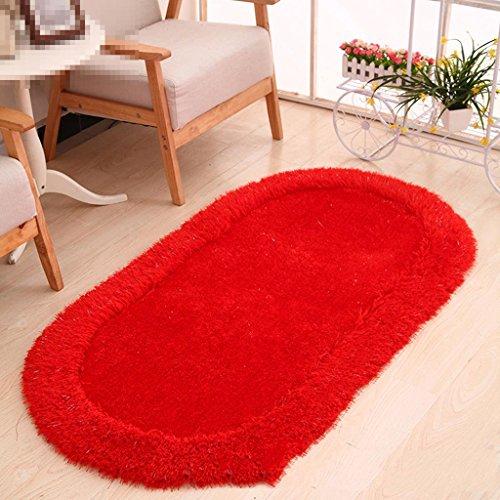 FUHOAHDD Verdickte ovale Stretch Seide Teppich Matten Wohnzimmer Schlafzimmer Teetisch Bettdecke, 5