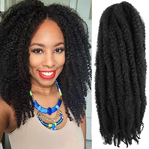 6 Packs 16Inch Cuban Twist Braiding Hair Marley Hair For Twist Marley Hair Crochet Braids 100% Kanekalon Synthetic Fiber Afro Kinky Hair Extensions (16inch, 1#)