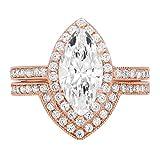 Clara Pucci 2.36ct Brilliant Marquise Cut Halo Bridal Engagement Statement Wedding Ring Band Set 14k Rose Gold, 6