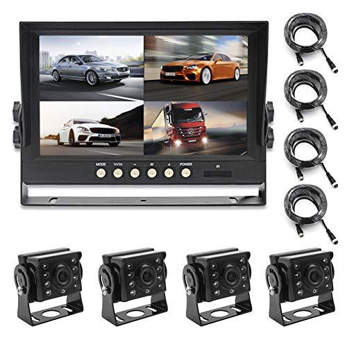 """WYYHAA Fahrzeug Backup Kamera Rückfahrkamera, 9\"""" LCD Hinterer Ansicht-Monitor Mit IP67 Wasserdichter Nachtsicht Back Up-Rückseiten-Cam, 4-Kanal-Video-Eingang Mit Videoaufzeichnung"""