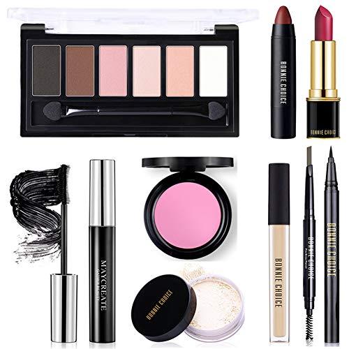 BONNIE CHOICE 9 PCS Makeup Kit, Makeup Sets for Women Beginners, Includes Eyebrow Pencil,Eyeliner Pen,Mascara,Eyeshadow Palette,Liquid Concealer,Loose Power,Blush,Lipstick,Lip Gloss