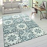 Paco Home Alfombra Diseño Moderna Perfil Contorneado Colores Pastel Cuadros Oriental Azul, tamaño:160x230 cm