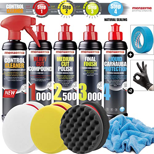 Detailmate Auto Politur Set - Menzerna Autopolitur 250ml: Super Heavy Cut 1000 + Medium Cut 2500 + Final Finish 3000 + Liquid Carnauba Wachs + 3x Menzerna Polierpad + Mikrofaser Poliertuch + 3M Band