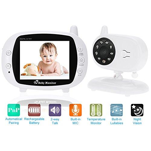 KKmoon Baby Monitor 3,5 Zoll Kamera Wireless mit 8 IR LED Zwei Wege Gegensprechanlage 3 Schlaflieder Temperatur 850