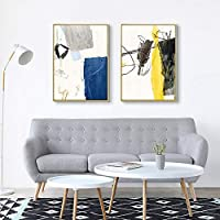 ウォールアート北欧手描き抽象的なラインウォールアートキャンバス絵画プリントポスターリビングルーム契約アート家の装飾50x70cmx2フレームなし