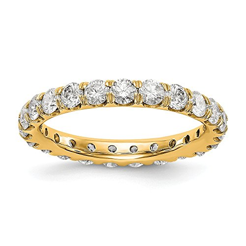 14ct Yellow Gold Polished U Shared Prong 2ct Diamond Eternity Wedding Band for Women