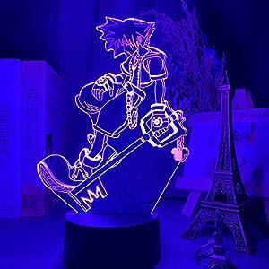 3D Night Light LED lamp for Kids,Kingdom Hearts Sora Keyblade Figure Child Color Changing Kids Bedroom Decor Sora,7 Color