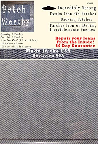 2 Pack Backing Patches - Super Strong Iron on Denim Jean Patch - Dark Blue