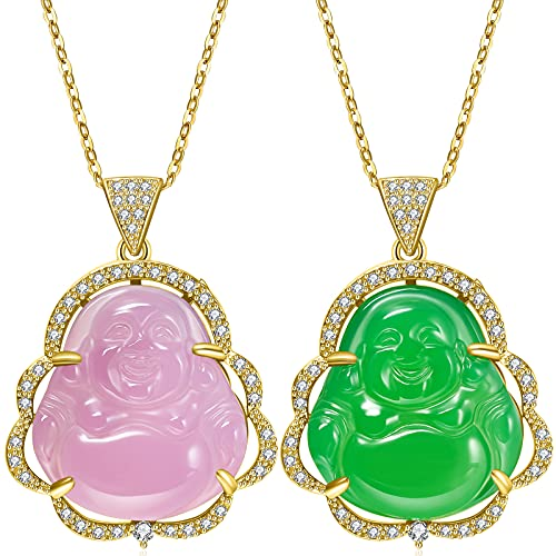 2 Pieces Buddha Pendant Necklace Green Pink Jade Smiling Buddha Chain Bling Necklace Dainty Amulet Jewelry for Women Men (Gold)