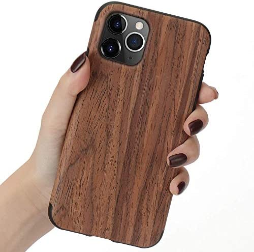 LCHULLE for iPhone 5 iPhone 5S iPhone SE 2016 Wood Case Premium Handmade Wooden Hybrid Case product image