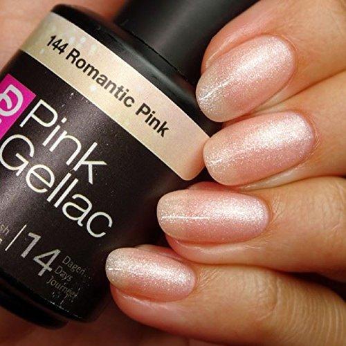 Pink Gellac Shellac Gel Nagellack 15 ml für UV LED Lampe | 144 Romantic Pink Rosa Rose Glitzer Glitter | Gel Nail Polish for UV Nail Lamp | LED Nagel Lack Gellack Nagelgel