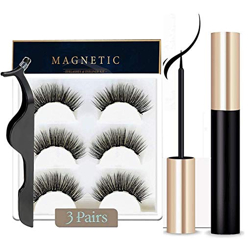 Magnetic Eyeliner and Lashes Magnetic Eyelashes Kit with Tweezers, Magnetic Eyeliner for Magnetic Lashes Set With Reusable Lashes